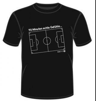 Herren T-Shirt Shirt 90 Minuten echte Gefühle - Fußball schwarz Fanshop 90 S-4XL