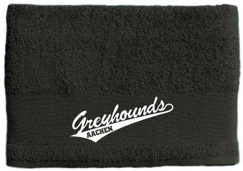 Greyhounds Duschtuch / Handtuch dunkelgrau mit Wappen 50x100cm - 500g/m²