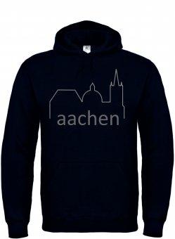 Aachen Dom Silhouette Hoodie Kapuzenpullover Skyline - schwarz Gr. 104 - 4XL