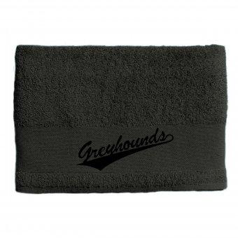 Greyhounds Duschtuch / Handtuch grau mit Wappen 50x100cm - 500g/m²