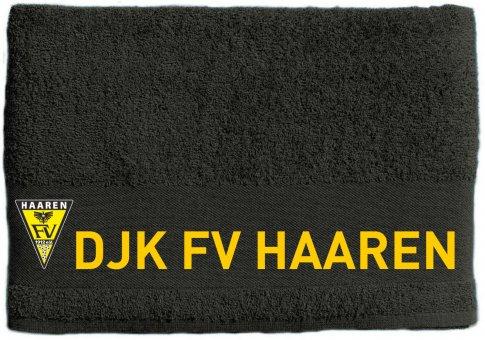 DJK FV HAAREN Duschtuch / Handtuch grau mit Wappen 50x100cm - 500g/m²