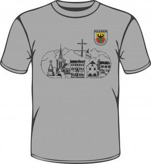 """Stadtteil T-Shirt Aachen Haaren """"Skyline"""" grau"""