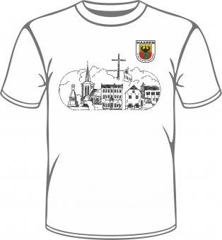 """Stadtteil T-Shirt Aachen Haaren """"Skyline"""" weiss"""