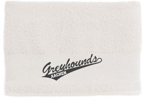 Greyhounds Duschtuch / Handtuch weiss mit Druck 50x100cm - 500g/m²